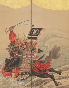Race at the Uji Bridge (detail), ca. 1760–67, by Soga Shōhaku, six-panel folding screen; ink, color, and gold-leaf on paper.