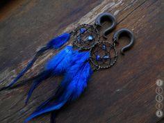 1pcs Blue Dreamcatcher Tribal feathers gauges,long dangle,custom size…