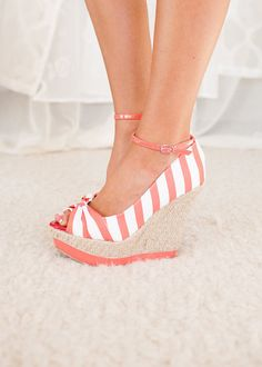 Online boutique. Best outfits. Sail With Me Coral Wedges - Modern Vintage Boutique.