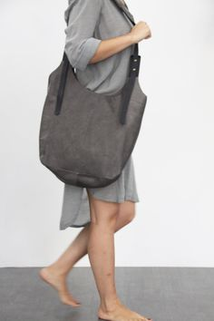 Dark+grey+leather+bag+Soft+leather+bag++Cross+by+LadyBirdesign,+$290.00