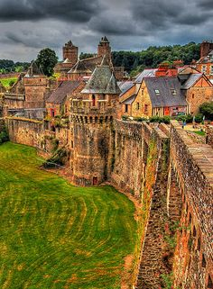 Chateau de Fougeres, Ille-et-Vilaine, France, was destroyed in 1166 after it was besieged and taken by King Henry II of England. It was immediately rebuilt. It is one of Europe's largest medieval fortresses. Places Around The World, The Places Youll Go, Places To See, Around The Worlds, Beautiful Castles, Beautiful Places, Amazing Places, Dream Vacations, Vacation Spots
