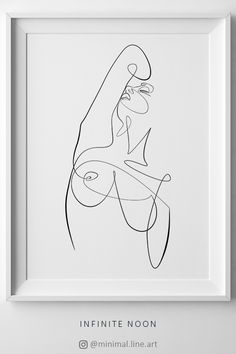 Beautiful One Line Woman Drawing. Contour minimal line illustration printable art. Fine art body abstract illustration. Modern home wall décor. Nude sketch illustration. Wall Art.