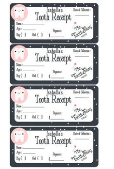 PERSONALIZED Tooth Fairy Receipt- Boy or Girl