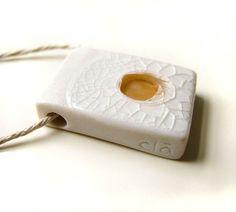 Contemporary Porcelain Jewelry Orange Pendant by clacontemporary
