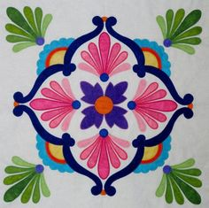 Fiesta de Talavera -- This breathtaking quilt pattern was inspired by painted Mexican Talavera tiles. Nine applique blocks along with an applique border. Finished quilt size is x design by J. Quilt Block Patterns, Applique Patterns, Applique Quilts, Applique Designs, Flower Patterns, Quilt Blocks, Applique Ideas, Mexican Pattern, Patchwork Quilt