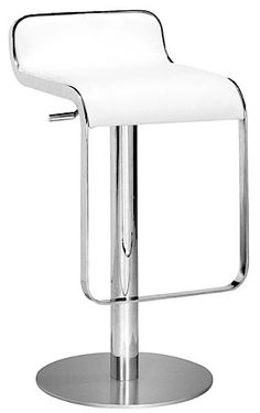 Equino Stool at www.moderndigsfurniture.com, in white, black, red and espresso with chrome plated steel frame, matte silver base and adjustable leatherette seat