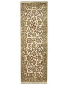 Handmade Rectangular Indian Jaipur Runner Area Rug in Ivory with Olive Accents Rug Runners, Floral Area Rugs, Green Accents, Jaipur, Ivory, Indian, Artwork, Handmade, Home Decor