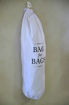 The perfect solution for storing and managing re-usable bags in the home. Printed on the front and finished with a simple drawstring at the top for inserting