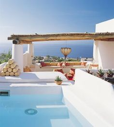 Modern House Design & Architecture : Salina home Tyrrhenian Sea view architect James Cavagnari interior design Exterior Design, Interior And Exterior, Outdoor Spaces, Outdoor Living, Outdoor Pool, Architectural Digest, Modern House Design, Coastal Living, House Tours