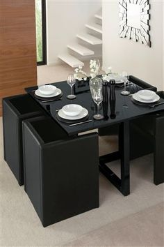 Buy Round Black Glass Hideaway Dining Set from the Next UK online