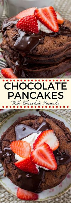 These chocolate pancakes are the perfect breakfast or dessert for true chocolate lovers. They're soft, fluffy, and made with cocoa powder and chocolate chips for a double dose of chocolate. #breakfast #pancakes