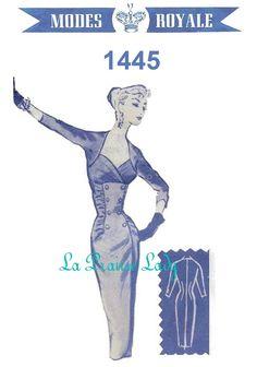 Repro Vintage Pattern Modes Royale 1445 Sheath Dress 1950s  No 5 on Printable PDF Bust 36. $9.99, via Etsy.