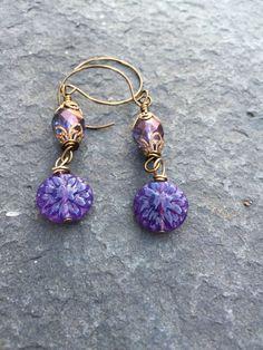 Czech Glass Purple Dahlia Earrings   Flower Earrings   Boho Flower Earrings  Woodland Fairy Earrings  Vintaj Earrings Product id:  PD217