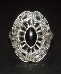 1.18ct GENUINE Black Onyx and Marcasite Cocktail Ring, size 7 - 925 Sterling Silver