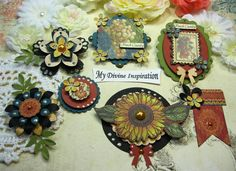 Graphic 45 French Country Fall Scrapbook Embellishments, Paper Embellishments for Scrapbooking Layouts, Cards, Mini Albums Paper Crafts