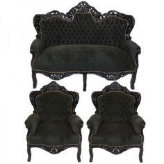 Casa Padrino Barock Wohnzimmer Set King Schwarz / Schwarz   2er Sofa + 2  Sessel