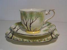 Royal Albert Crown China Rookery Cup Saucer Plate Trio Circa 1925   eBay