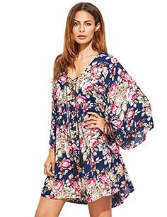 005428ef7e online shopping for Milumia Women s Floral Print Front Cross Lace Up Deep  V-neck Flare Sleeve Loose Short Mini Dress from top store.