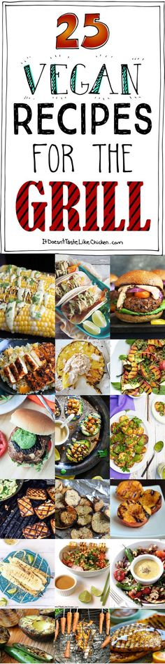 grilling recipes 25 Vegan Recipes for the Grill! A collection of grillable vegan recipes that are perfect for your next BBQ! Breakfast to dessert and everything in between. Vegan Foods, Vegan Dishes, Vegan Meals, Grilling Recipes, Cooking Recipes, Healthy Grilling, Vegetarian Grilling, Grilling Ideas, Barbecue Recipes