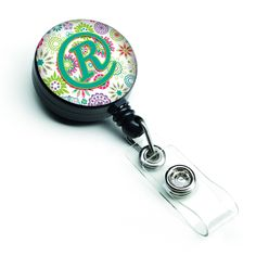 Letter R Flowers Pink Teal Green Initial Retractable Badge Reel CJ2011-RBR