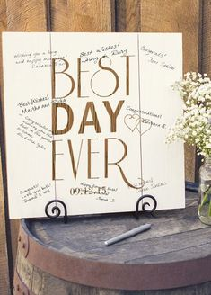 Personalized Best Day Ever Wood Art Guest Book, the perfect way to welcome guests to your garden wedding