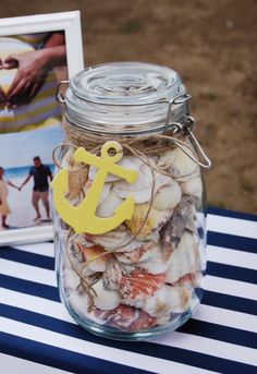 Guess how many seashells are in a jar. Baby shower game. Nautical baby girl shower! Yellow, Navy blue and white.