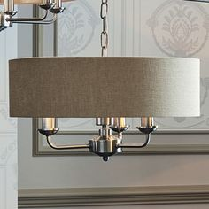 Sorrento Chrome 3 Arm Ceiling Pendant with Natural Shades alternative image Lounge Lighting, Chandelier Lighting, Living Room Green, Home Living Room, Laura Ashley Lighting, Ceiling Pendant, Ceiling Lights, Open Plan Kitchen Dining, Front Rooms