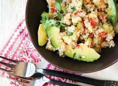 quinoa, red pepper and cucumber salad, with avocado and lime