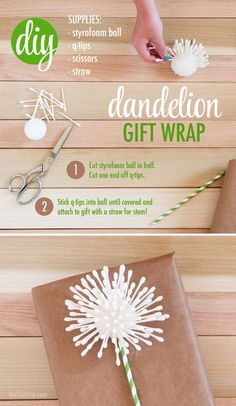 dandelion gift wrap idea - wishing you the best - make a wish birthday gift wrapping idea - q-tip craft - graduation present wrapping - creative homemade personal handmade DIY tutorial - easy quick kid craft for the classroom as well - summer birthday ideas - giftwrap using household products - free tutorials for gift wrapping - how to make a bridal shower present stand out - mother's day giftwrap - mother's day brunch decorations or card making classroom craft ideas