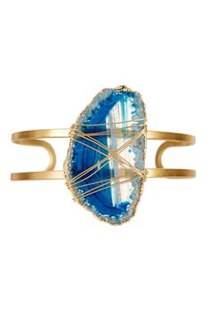 Navy Gilded Edge Organic Agate Wire-Wrapped Cuff on @HauteLook