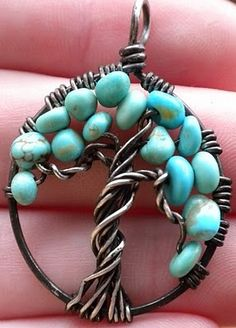 Probably howlite or magnesite treated to resemble turquoise, rather than the real thing, but still a lovely piece... really excellent wirework.