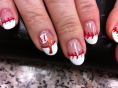 """Lily """"strikes"""" again!! She rocked my baseball nails for my Texas Rangers."""