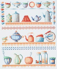 Cute kitchen accessories free cross stitch pattern from www.coatscraft.pl