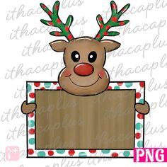 Clipart Digital Download Girl Reindeer Printable Sublimation Design PNG Artwork Rudolph Reindeer Design Watercolor