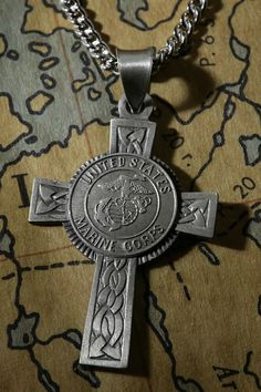 Sterling Silver Marine Corps Cross Pendant