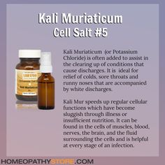 Kali Muriaticum or Potassium Chloride is Cell Salt No 5 in Dr Schuesslers biochemic therapy a natural healing system comprised of 12 vital mineral salts Kali Mur speeds u. Natural Headache Remedies, Homeopathic Remedies, Natural Home Remedies, Natural Healing, Holistic Remedies, Alternative Therapies, Alternative Health, Alternative Medicine, Tissue Salts