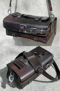 Leather Bag.  14 Oz English Bridal Lather. Design of this bag inspired by old tool bags.  Will fit SLR Camera With Lens & iPad Mini, Plus Phone, Wallet, Etc.  By Leon Litinsky.