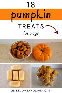 18 pumpkin dog treats including some no-bake and baked recipes. Pumpkin Dog Treats, Baking Recipes, Sweet Potato, Vegetables, Fruit, Breakfast, Dogs, Cooking Recipes, Morning Coffee