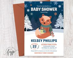 A sweet baby deserves a sweet invitation. Preseneting our newest baby shower invitation, Woodland Fox.