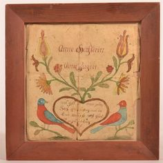 """Early 19th C. Southeastern PA Watercolor Fraktur Mirror Image Marriage Book Plate. Decorated with birds on a branch and numerous flowers protruding from a heart. Image 7 1/2"""" x 7 1/2"""". Wood frame 10""""h x 9 3/4""""w. Condition: Good with some tears and loss to rim."""