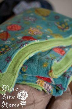 MoreLikeHome.net - Fleece Blanket Tutorial
