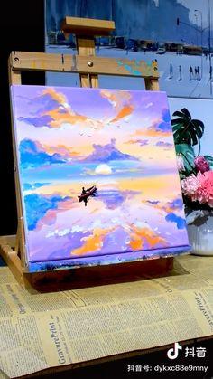 Canvas Painting Tutorials, Diy Canvas Art, Diy Painting, Cool Art Drawings, Aesthetic Painting, Pastel Art, Creative Art, Watercolor Art, Art Projects