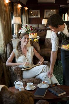 z- Afternoon Tea in 'Orient Express' RR Parlor Car Train Tracks, Train Rides, Venice Simplon Orient Express, Train Tour, Train Journey, Train Station, Luxury Life, Luxury Travel, Travel Style