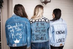 Joy Jackets by Julia Elise — Julia Elise Collective Custom Hand painted jean jackets Painted Denim Jacket, Painted Jeans, Painted Clothes, Hand Painted, Denim Overalls, Cropped Denim Jacket, Jean Diy, Jean Jacket Outfits, Denim Art