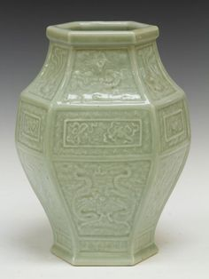 VINTAGE CHINESE CELADON PORCELAIN VASE Height- 11 1/2""