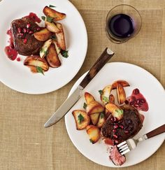Beef Filets with Pomegranate-Pinot Sauce ‹ Hello Healthy - Serves: 4 |  Serving Size: 1 steak + 2 teaspoons sauce Per serving: Calories: 236