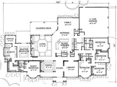 Plans Maison En Photos 2018 Image Description Sure don't need 6 bedrooms, a library, etc…. But I like the openness, utility room and bath off the garage. Deck, yes please. House Plans One Story, One Story Homes, Dream House Plans, Story House, House Floor Plans, My Dream Home, 6 Bedroom House Plans, Br House, House Property