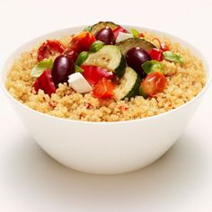 Tomato and Basil Quinoa with Grilled Vegetables Fetta and Olives