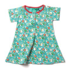 This simple jersey dress in the gorgeous Into the Shallows print by Little Green Radicals is perfect for busy days playing.  Made from organic cotton which will wash again and again and come up like new. It also has buttons on the front rather than the back so your little one can dress themselves.  Sizes 1-2y & 2-3y