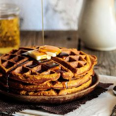PumpkinWaffles.  My review:  Great taste but a little soft for my liking.  I like crispy waffles!  If you put them in the toaster oven the next day they crisp up pretty nicely.